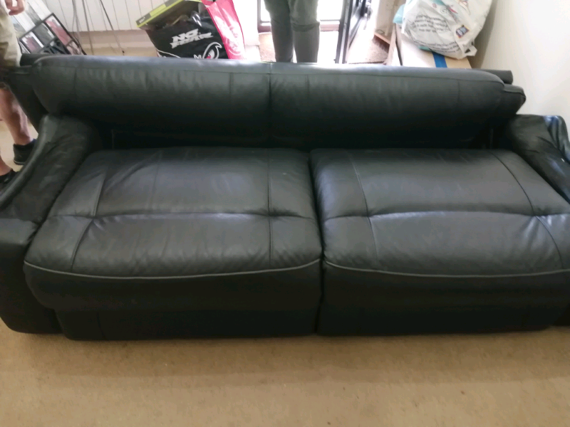 Black Leather Sofa Comes Apart In Two Sections Stanway Es Gumtree