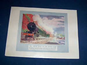 THE GREAT BEAR ON THE DEVON COAST-1922 COLOR PLATE-RAILROAD