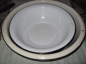 Two enamel camping basins - hard to find heavy old ones