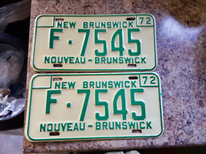 Pair of new brunswick unsed car licence plates. Farm issue 1972
