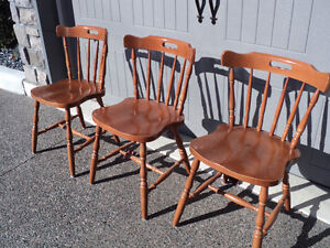 """CHAIRS!! (3)""""HONEY"""" COLOURED  ~ (2) ALL WOOD """"LIGHT COLOURED"""" Windsor Region Ontario image 1"""