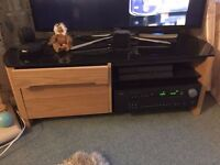 TV Stand - Great condition, good storage, Light Oak