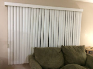 Vertical (venetian) BLINDS - one white and one faux wood look