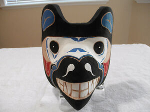 WEST COAST FIRST NATIONS NATIVE ART CARVING MASK SIGNED HUBERT B
