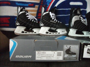 3 pairs of jr. hockey skates and 1 pair of adult skates