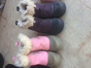 2 pairs of girls North Face winter boots