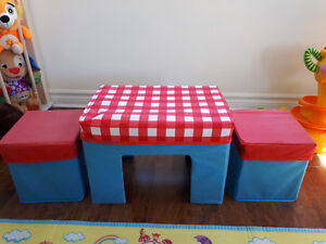 Cloth table and stools storage