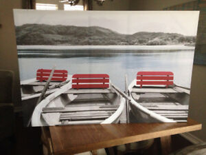 Canvas Print,,Red Boats at Dock