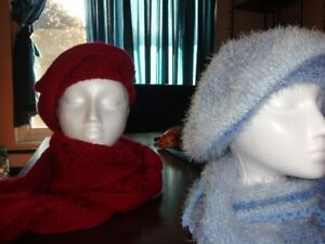hand knitted hats and scarves set for women