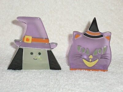 Partylite Witch & Cat Tealight Pair -- HALLOWEEN! - Partylite Halloween Tealights