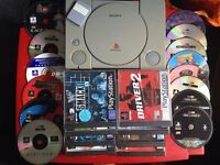 PS1 with controller and 22 games