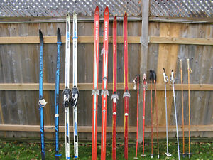Various Cross country skiis - a couple of vintage classics