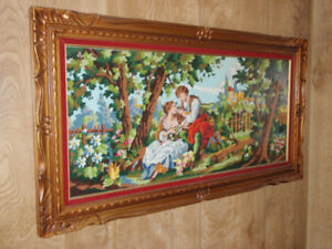 Needlepoint / Picture/ Painting / Cadre / Vintage / Antique