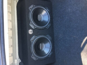 """Two 10"""" Kenwood Excelon subwoofers with kenwood amp"""