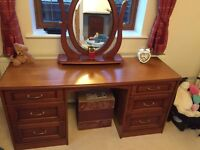 Dressing table, mirror, stool and chest of drawers
