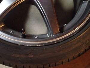 Four 17x7 wheels with 215/45R17 Michelin tires Strathcona County Edmonton Area image 2