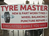 TYRE MASTER, NEW AND PART WORN TYRES FITTED WHILE YOU WAIT