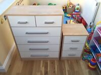 Bedroom bedside table and chest of drawers