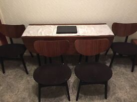 G Plan dining table with 4 chairs