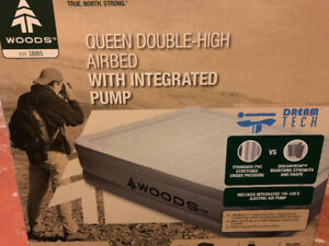 Woods Queen double high air bed with integrated pump.