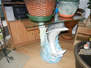 Unique Designer Glass top Dolphin side table...see photos