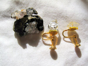 HERKIMER DIAMOND EAR RINGS 2 CRYSTALS 2 + 2 GARNET EAR RINGS