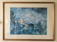 LARGE CEZANNE PRINT IN GOLD FRAME