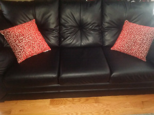 Black Faux leather 3 seater sofa 2 sets