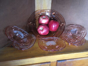 Vintage Pink Carnival Glass Bowl and 5 Fruit Nappies