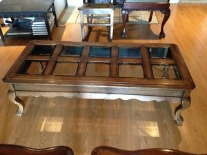 Solid Wood Coffee & End Tables - Smoked Bevelled Glass Cambridge Kitchener Area image 2