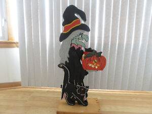Halloween Wooden Witch with Planter
