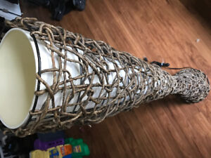 Stand up paper mache and wicker dual floor light.