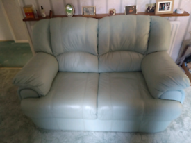 Mint green 2 seater leather sofa