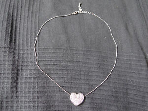 Silver plated necklace with jewel encrusted heart pendant