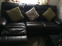 Dark brown leather 3 seater recliner sofas bought from DFS. £250 offers accepted