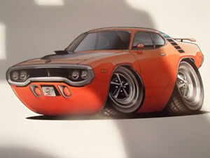 "1971 / 72 PLYMOUTH ROAD RUNNER ORANGE WALL ART PICTURE 11"" X 8.5"