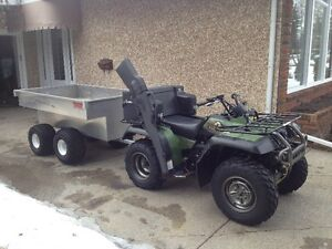 quad tub trailer and snow pluw