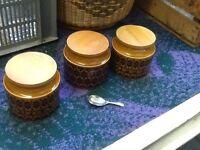 3x Hornsea coffee sugar and tea jars