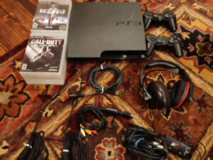 PS3 + 10 Games,  2 Controller, Headset & Cables