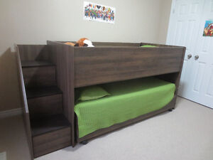 Twin loft bed with trundle bed underneath