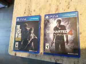PS4 games Uncharted 4, The Last Of Us