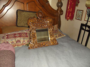Very Old Heavily Carved Antique Mirror Circa 1800's $250.00 OBO