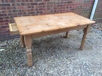 Solid pine Farmhouse Dining Table With Drawer.