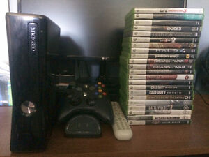 Xbox 360 slim 250gb w/ accessories and 22 games