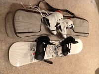Snow board boots bindings and bag