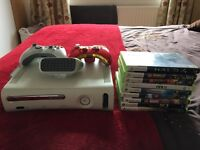 Xbox 360 20gb edition with wireless adaptor and 9 games