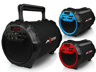 "Axess SPBT1036 6"" Rechargeable Cylinder Speaker+Bluetooth+USB/SD/FM+Wireless Mic"