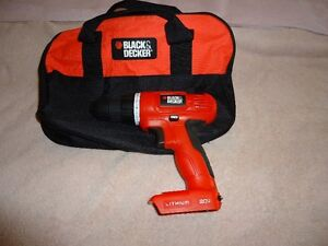 BARE   BLACK AND DECKER  20V DRILL  AND  BAG