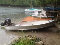15HP Mercury fourstroke outboard on a 14ft Thornes aluminum hull