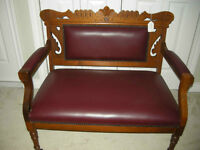 antique small victorian east lake style settee new leather